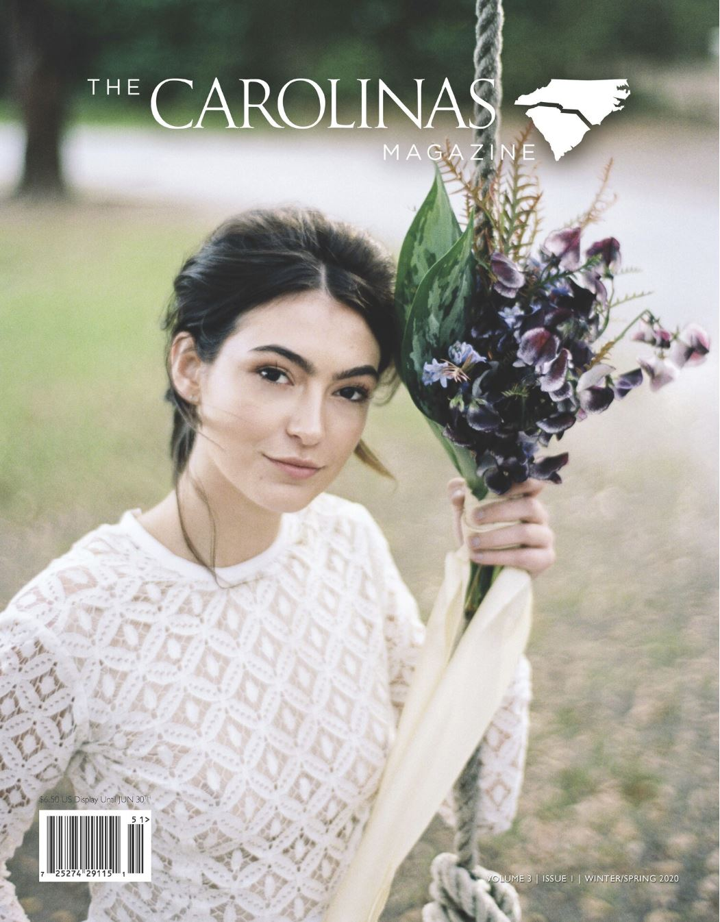 brian d smith carolinas magazine winter spring 2020 cover wingate bridal portrait haylee michalski in sweet caroline styles bodysuit with purple bouquet