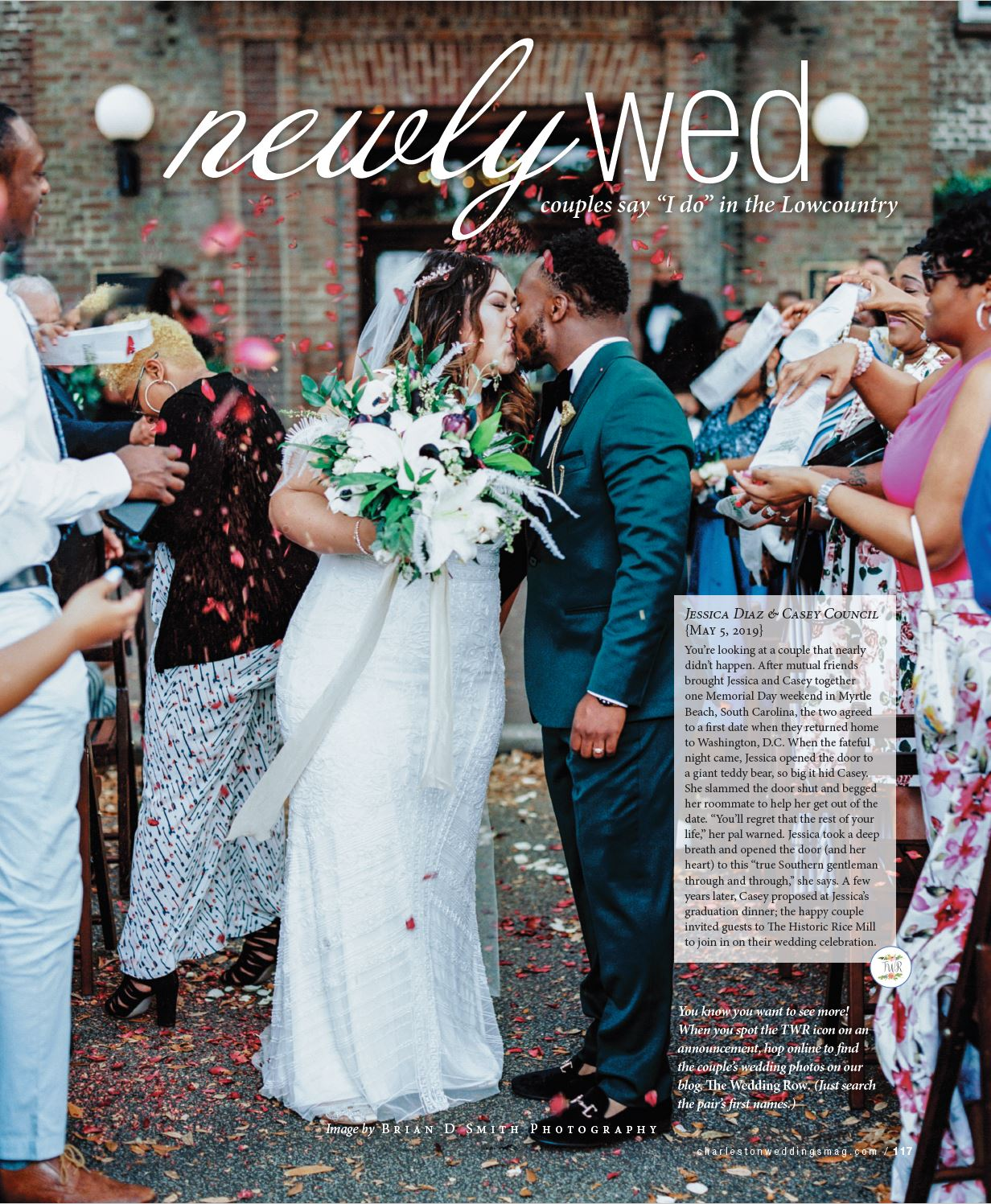 charleston weddings magazine winter 2019 jessica casey may rice mill wedding announcement flower petal wedding ceremony recessional
