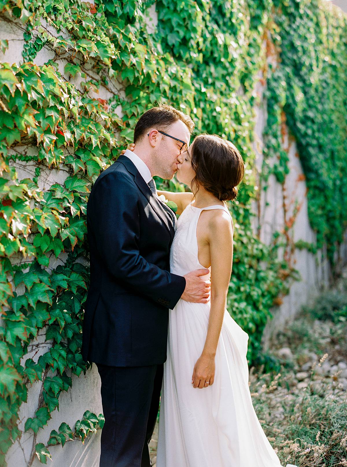 northern michigan wedding portrait on kodak film at brengman brothers winery in traverse city michigan by brian d smith photography