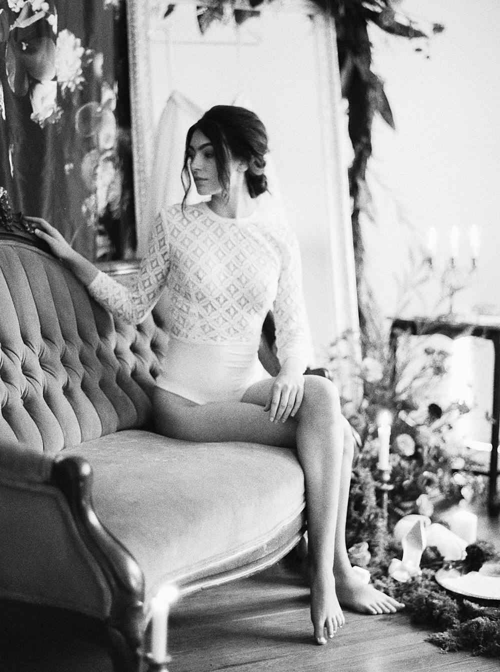 charleston bridal boudoir portrait on film at wingate plantation by brian d smith photography with bride in white lace bodysuit