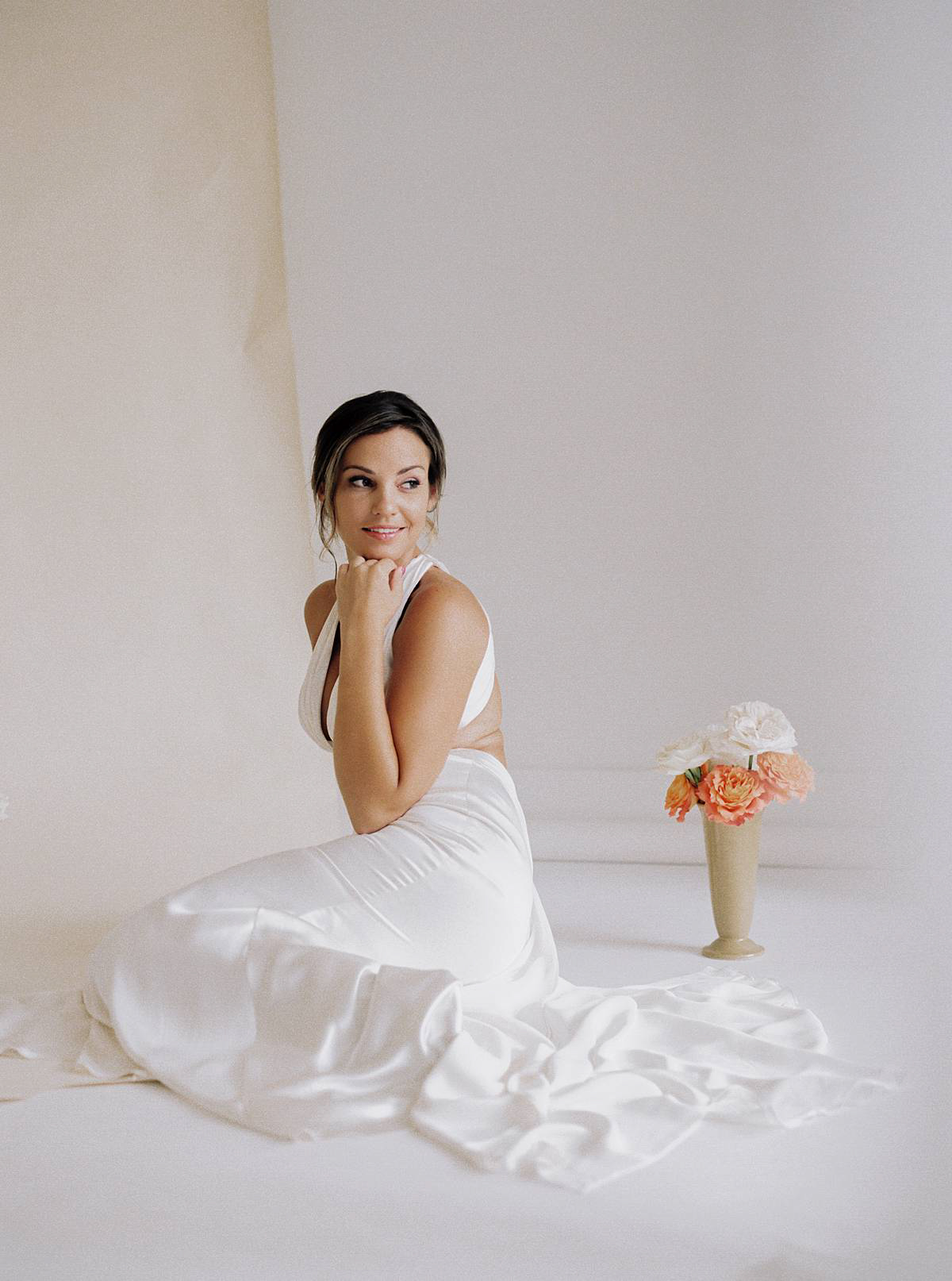1906 white room charleston wedding bridal studio portraits film 00040