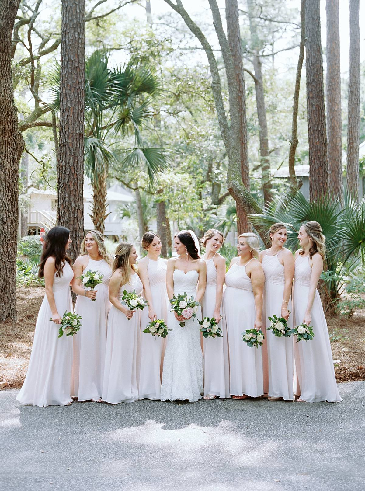 contax 645 bridal party in blush bridesmaids dresses on kiawah island for charleston wedding