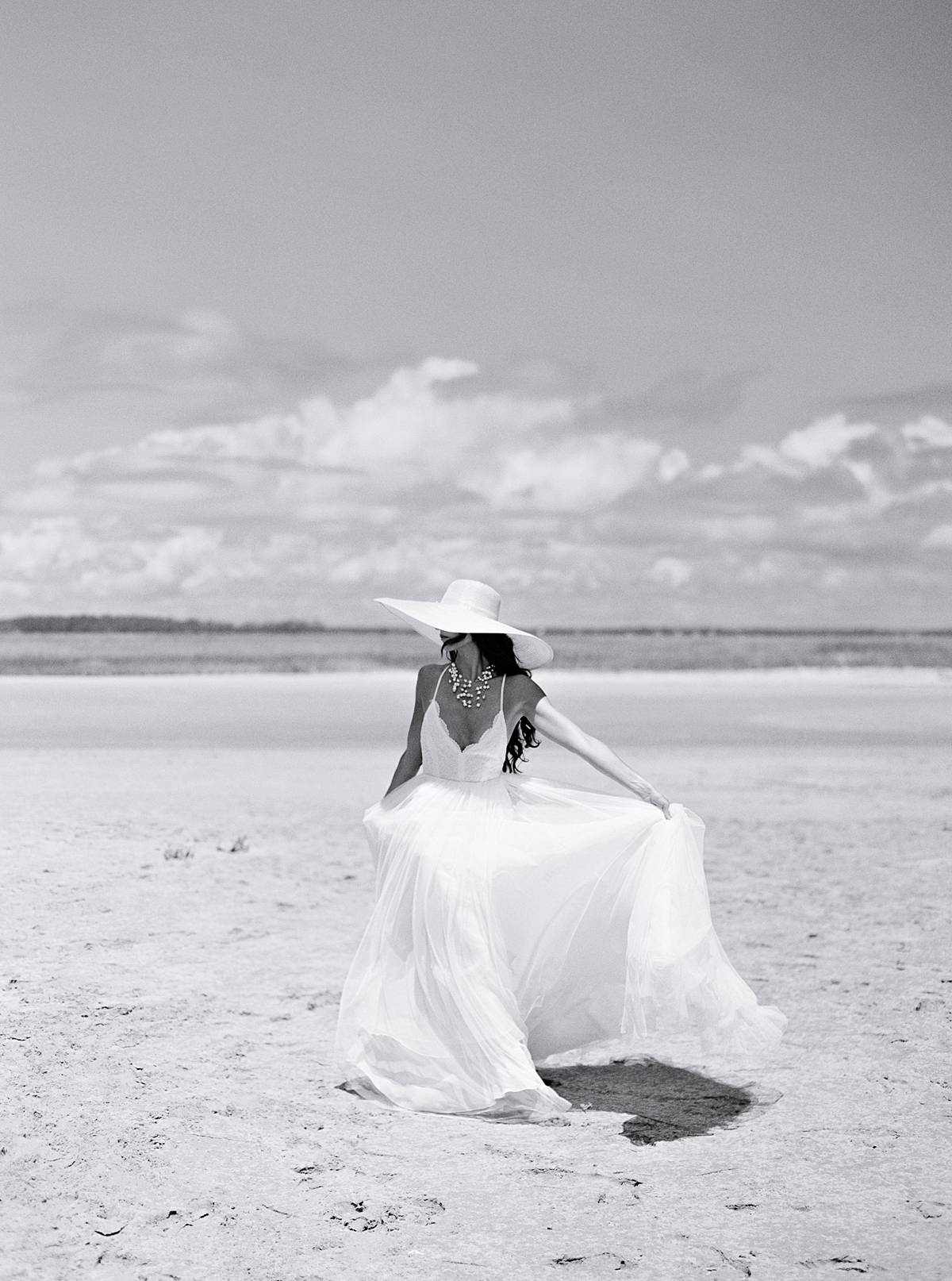 contax 645 black and white film fashion bridal portrait on folly beach in charleston sc