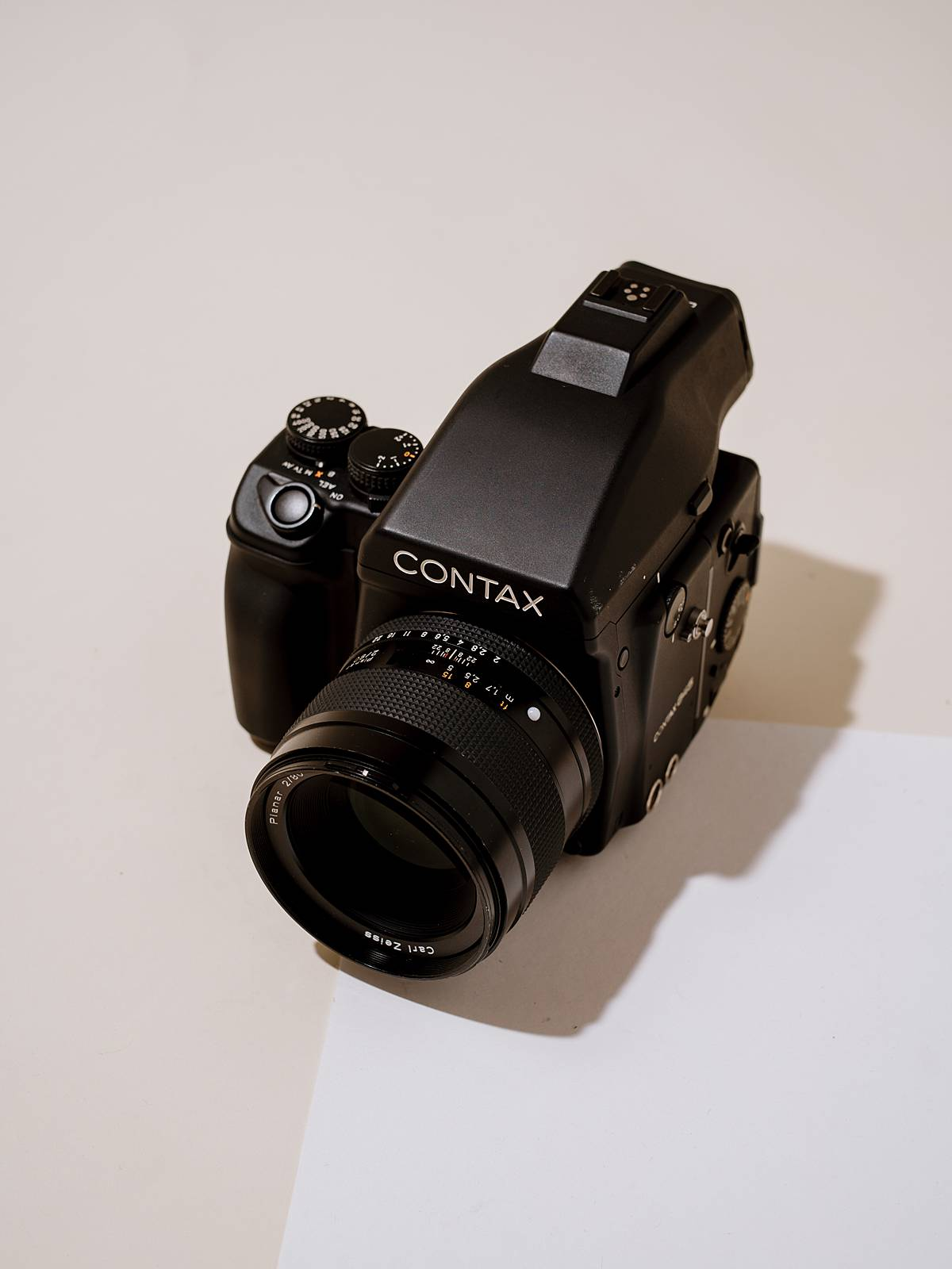 contax 645 medium format film camera review with body in studio and lit like product photography