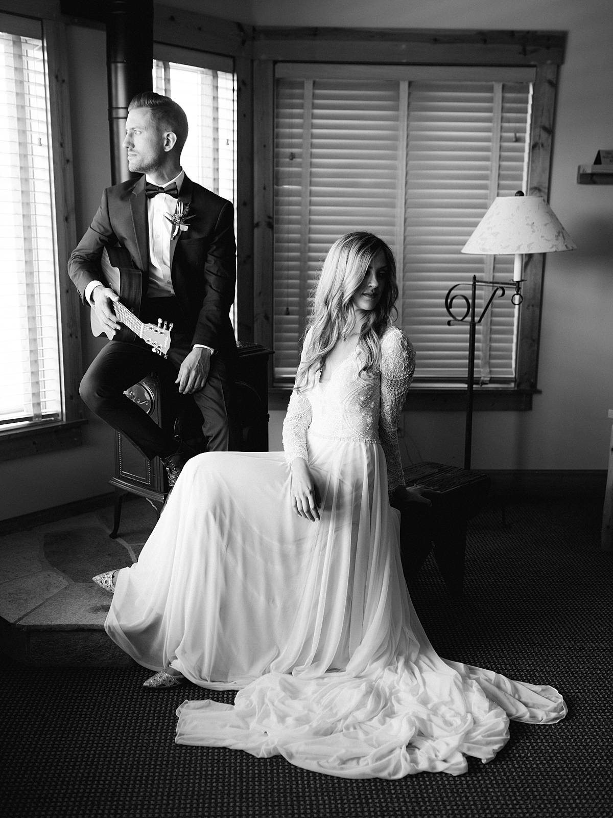 homestead wedding northern michigan venue portrait bride groom black and white