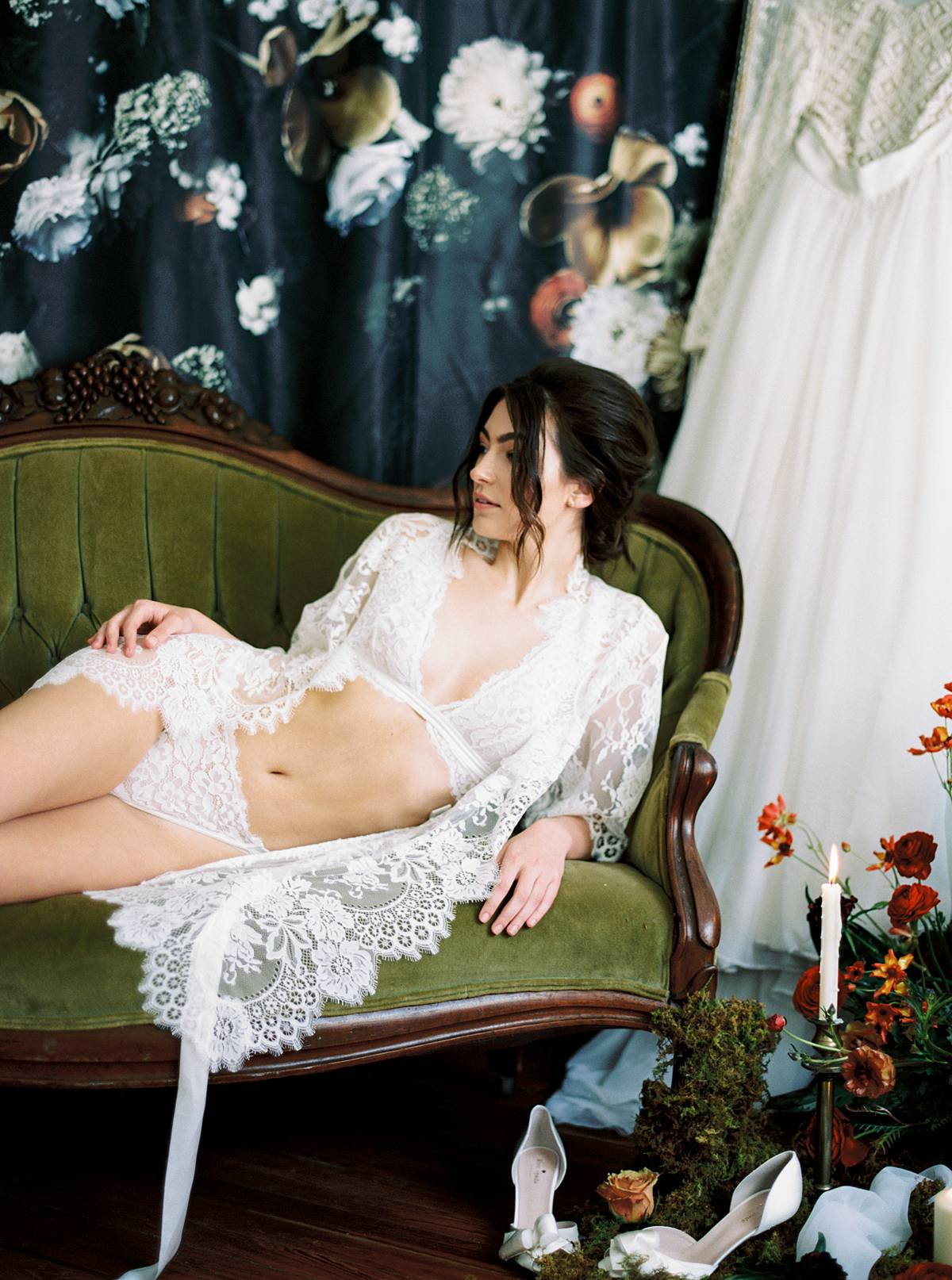 styled charleston bridal boudoir session at wingate plantation in south carolina with lingerie and lace robe and flowers