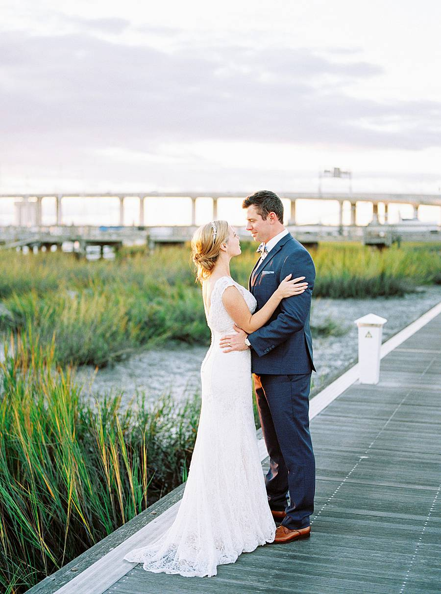 charleston yacht club harbor sunset wedding portrait on kodak portra 800 film
