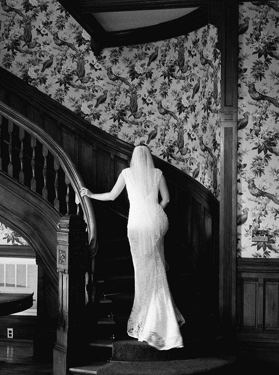 governor's house inn charleston wedding bride black white film