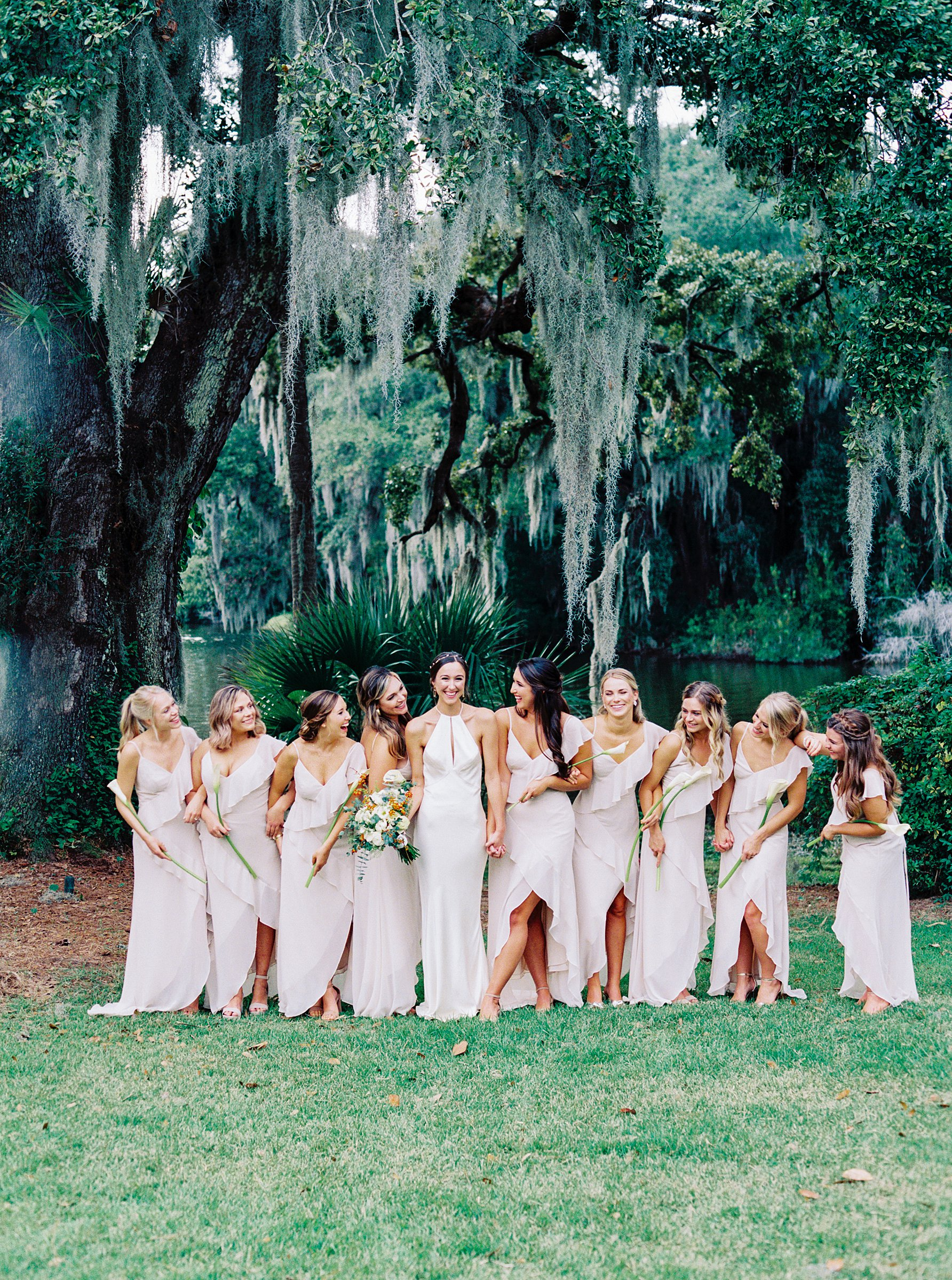 bridesmaids at charleston sc wedding venue legare waring captured on kodak portra 800 film with a contax 645