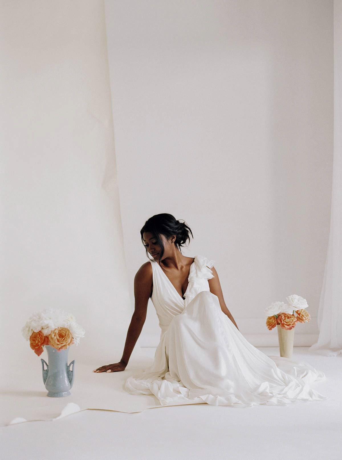 charleston film bridal portrait wedding studio bridal african american orange white kodak portra 800 contax 645