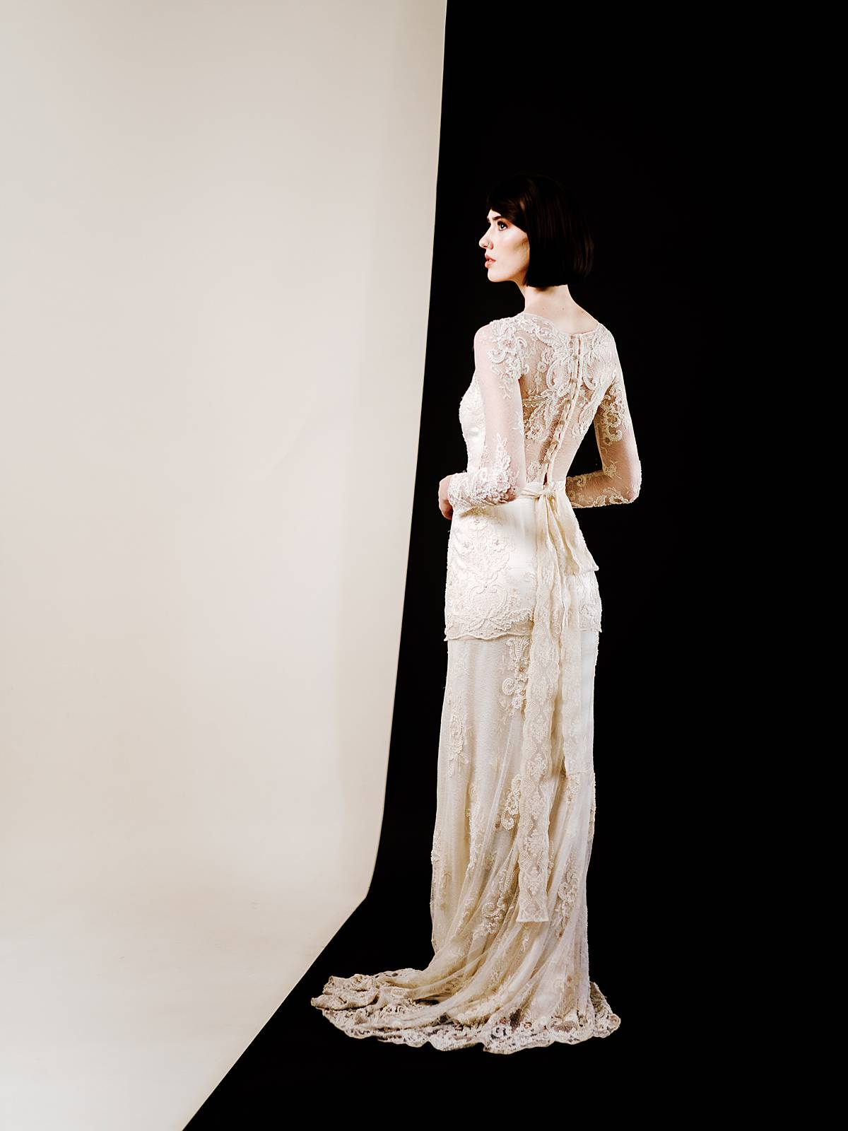 lace wedding dress back in cream by claire pettibone photographed in studio by brian d smith photography