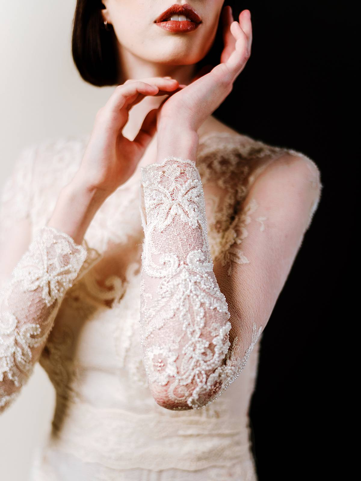 studio bridal portrait in charleston sc by wedding photographer brian d smith with claire pettibone dress