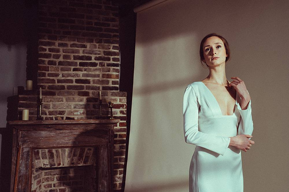 charleston studio bridal portrait with lovely bride dress inspired by vogue fashion and sculpture