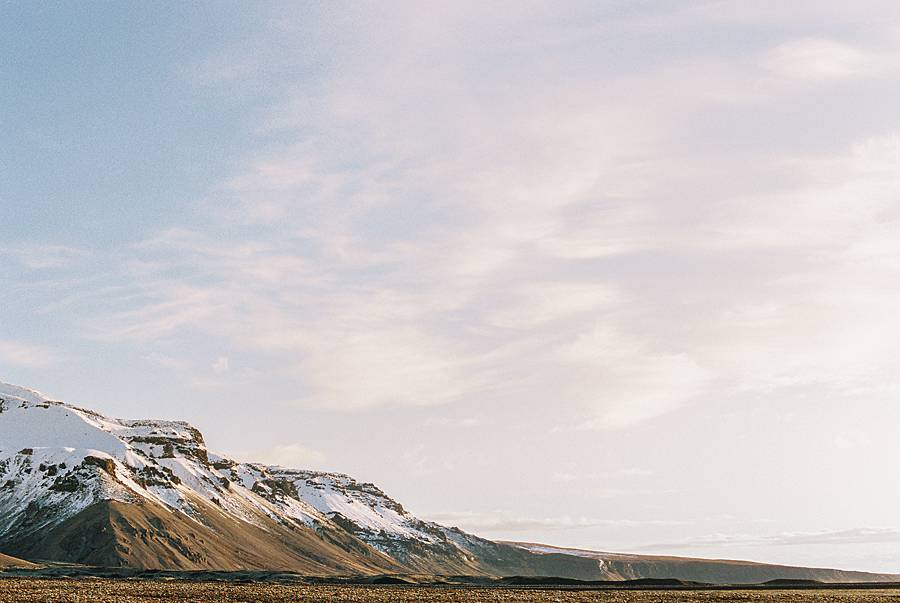 Kodak portra 400 35mm film with canon F1N photograph of mountain in iceland during winter
